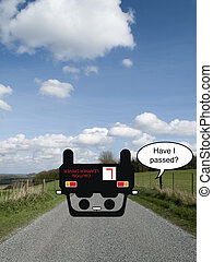 Comical optimistic driver on country road failing his driving test