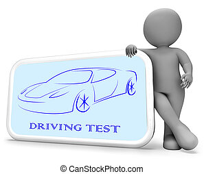 Driving Test Means Car Examination 3d Rendering
