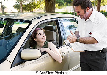 Driving Test - You Passed - Teen girl passes her driving...