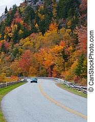 Driving the Blue Ridge Parkway, North Carolina - A car...
