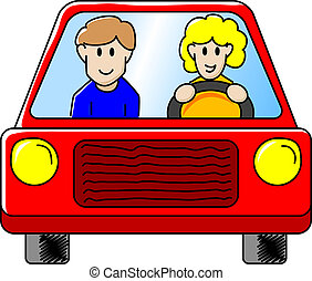 driving the car - vector illustration of a woman and a man...