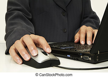 Driving the mouse - Businessperson on laptop