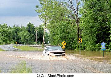 Driving Through A Flood - The Illinois River in Arkansas...