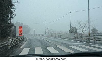Driving through heavy snow fall