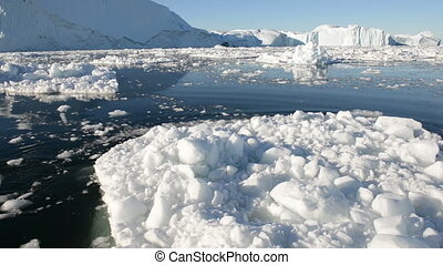 Driving through ice in arctic water