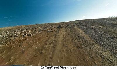 Driving Through Mountain Plateau - Off-road driving through...