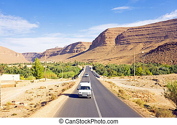 Driving through the Atlas Mountains in Morocco