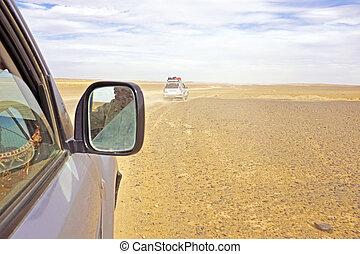 Driving through the Sahara Desert in Morocco