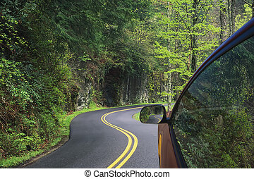 Driving through the winding roads of the Smoky Mountains -...