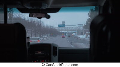 Driving to the airport in Helsinki, view from the car