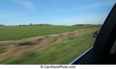 Driving UK. Somerset stone walls. - Driving past stone walls...
