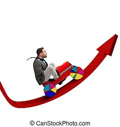 Driving uphill arrow - Businessman driving uphill arrow to...