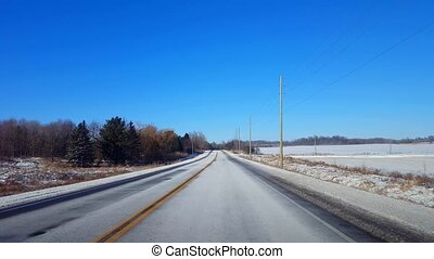 Driving Winter Rural Road in Day. Driver Point of View POV...