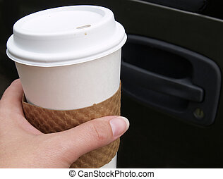 driving with coffee