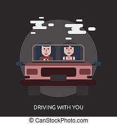 Driving With You Conceptual illustration Design