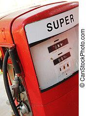 drivmedel, årgång, pump, röd