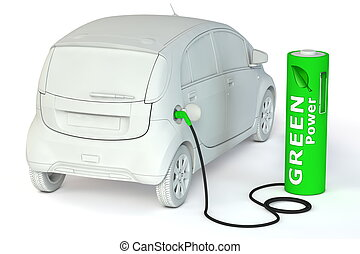 drivmedel, driva, batteri, -, bensin förlagt, grön, e-car
