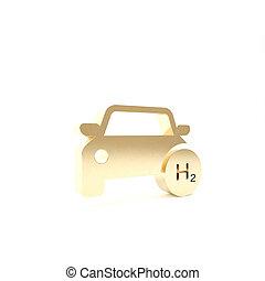 drivmedel, eco, bakgrund., vit, isolerat, station, miljö, guld, bil, cell, noll, h2, emission., render, ikon, väte, 3, vänskapsmatch, skylt., illustration