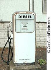 drivmedel, gammal, pump, diesel