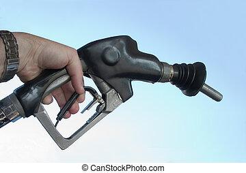 drivmedel, gas, pumpa, hand
