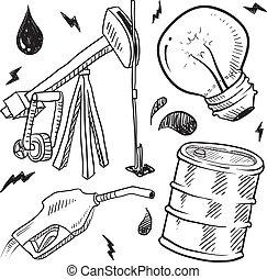 drivmedel, objekt, skiss, fossil