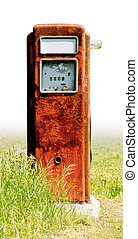 drivmedel pumpa, gammal, rosta