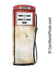 drivmedel pumpa, gammal, vit fond