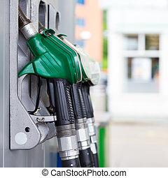 drivmedel pumpa, gas, station.