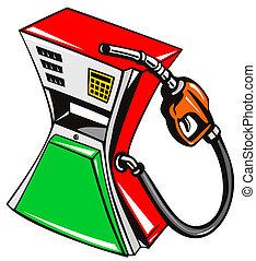 drivmedel pumpa, station, munstycke, retro
