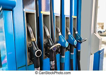 drivmedel pumpar, station, gas