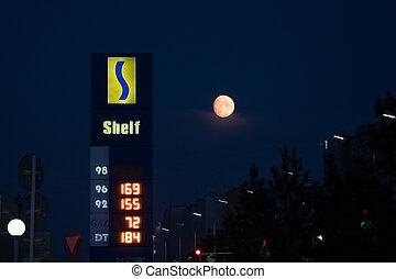 """drivmedel, sky, bensin, 2020:, material, petropavlovsk, """"shelf"""", priser, moon., station, kasakhstan, 30, bakgrund, kazakhstan., gas, natt, stort, augusti, bensin"""
