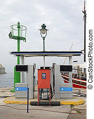 drivmedel, station, flotta