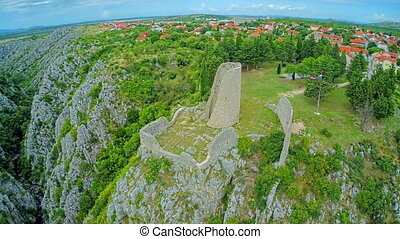 Drnis - Gradina fortress aerial circular shot