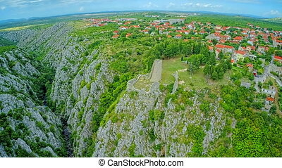 Drnis, Gradina fortress aerial descenting shot - Copter...