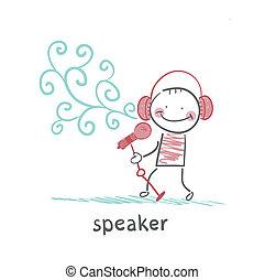 drobný, sluchátka, mluvčí, projevit se, rozmluvy