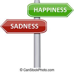 droefheid, geluk