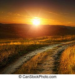 droga, łąka, kasownik, abstrakcyjny krajobraz