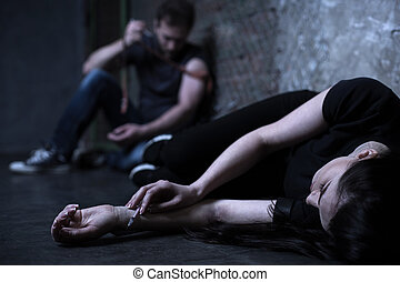 droga, chão, obtendo, injeção, junkies, deprimido