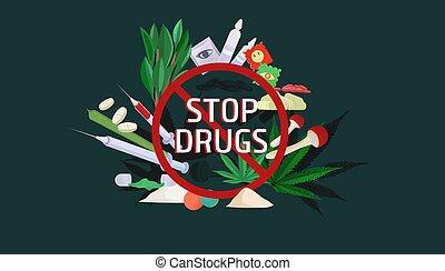 droga, cocaína, drogas, poster., prevención, peligros, abuso...