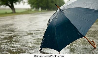 droga, deszcz, parasol, pod