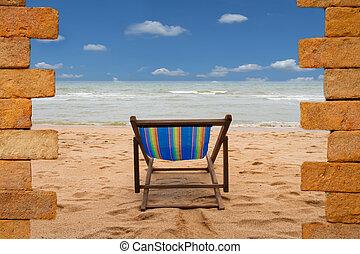 droga, do, nowy, world., nowe życie, pojęcie, na plaży