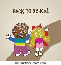 droga, dziewczyna, chłopiec, szkoła, afisz, wstecz