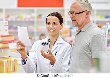 droga, farmacia, 3º edad, farmacéutico, compra, hombre