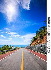 droga, góra, morze, szosa, przybrzeżny