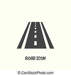 droga, ikona, prosty, styl, illustration., wektor, płaski