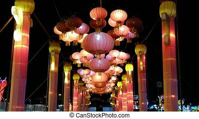 droga, latarnie, chińczyk, noc, ulica