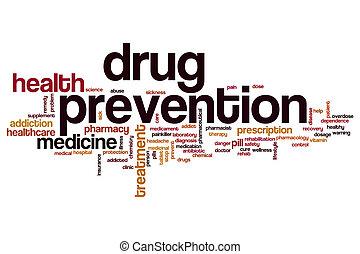 droga, prevención, palabra, nube