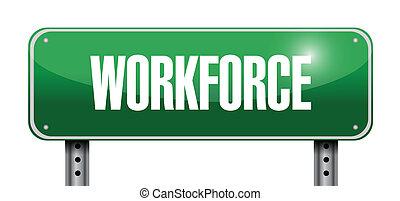 droga, projektować, workforce, ilustracja, znak