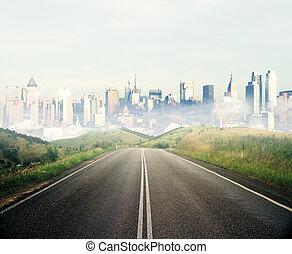 droga, przewodniczy, do, miasto