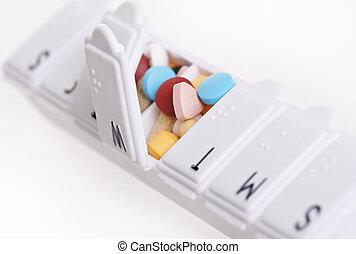 droga, recipiente, pílulas, day-of-week
